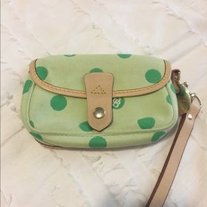 Dooney & Bourke Wristlet Lime Polka Dot